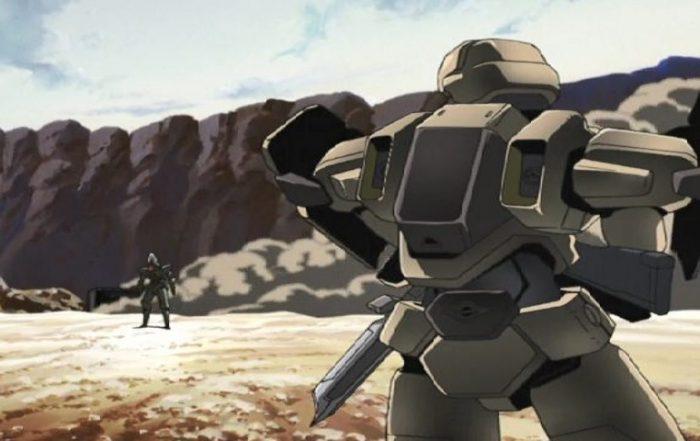 Fullmetal Panic! Two mechs in battle