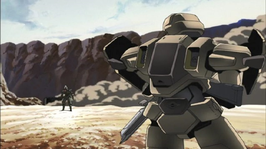 Fullmetal Panic! Two mechs in battle