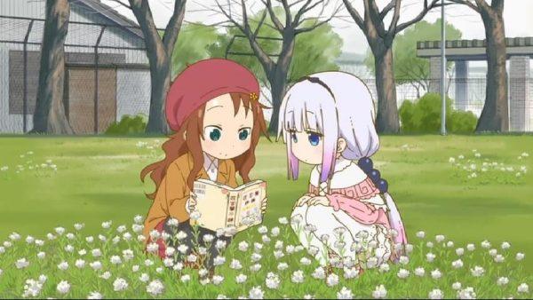 Kanna and Saikawa looking at flowers.