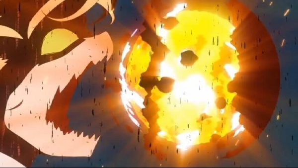 Tohru firing a blast of flames. Episode two at 13 mins 5 seconds