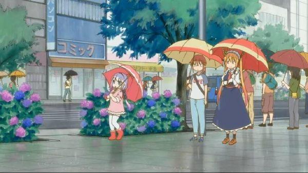 Kanna playing in the rain. Miss Kobayashi's Dragon Maid Episode 6