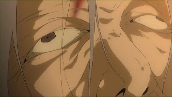 Shion burning her grandmother's face. Kai episode 19 at 6 mins 37 secnds