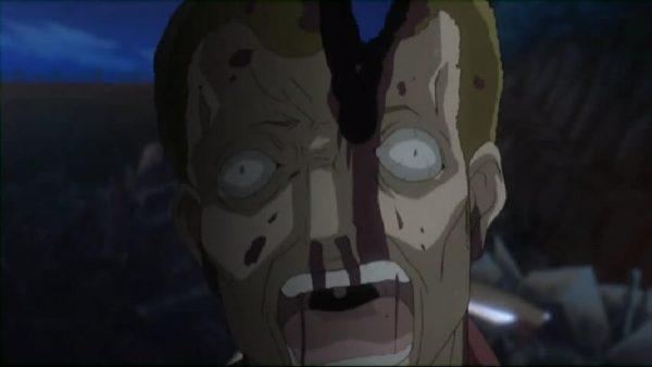 Rena killing Houjou. Higurashi episode 23 at 10 mins 57 seconds
