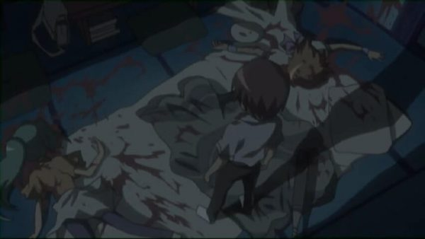 Keiichi killing Mion and Rena. Episode 4 at 5 mins 21 seconds