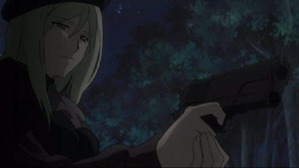Miyo killing Rika and her friends. Higurashi Kai episode 11 at 11 mins 42 seconds