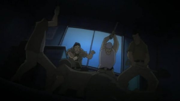 The Contruction site manager killed by his fellow coworkers. Higurashi Kai episode 16 at 12 mins 36 seconds