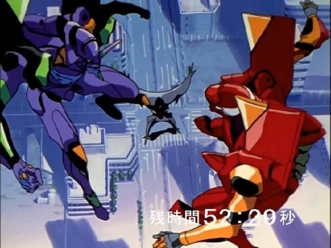 Shinji and Asuka in their Evas