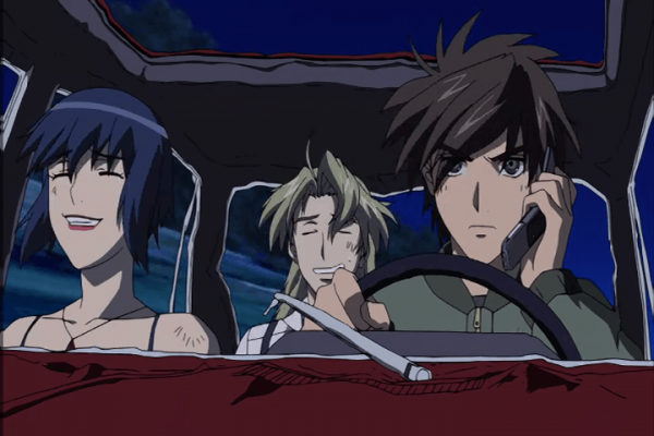 Sousuke Balancing talking to Chidori while on a mission. Full Metal Panic! The Second Raid Episode 5 At 16m49s