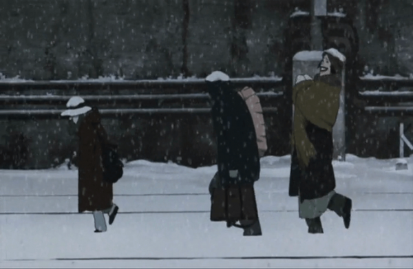 Tokyogodfathers all characters walking in the snow at 20 minutes 10 seconds
