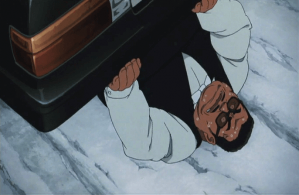Tokyo Godfathers a guy trapped under a car at 23 minutes 36 seconds