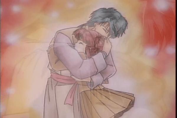 Tamahome embracing Miaka Fushi Yuugi Ep 4 At 20mins7seconds