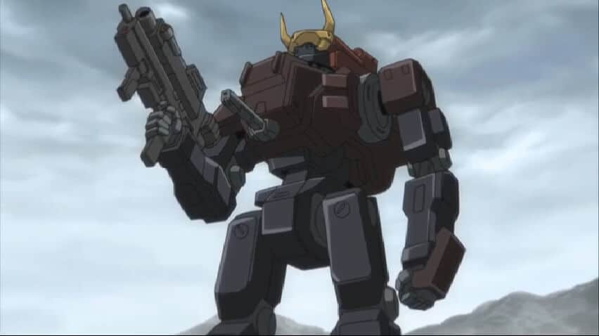 Zero's Burai at the Battle of Narita. Code Geass R1 Episode 10 A t36m 56s.