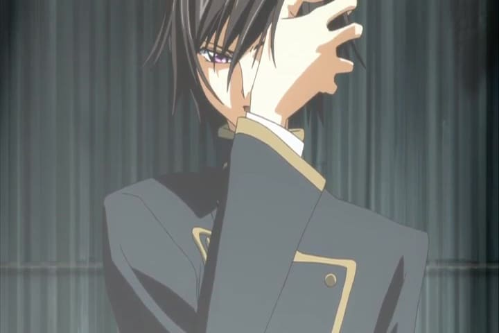 Lelouch using his Geass power for the firs time. Code Geass R1 Episode 1 at 21 m 33s