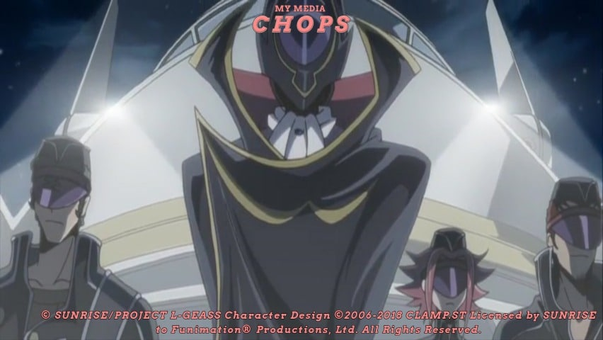 Zero introducing the Black Knights. Code Geass R1 Review Feature Image