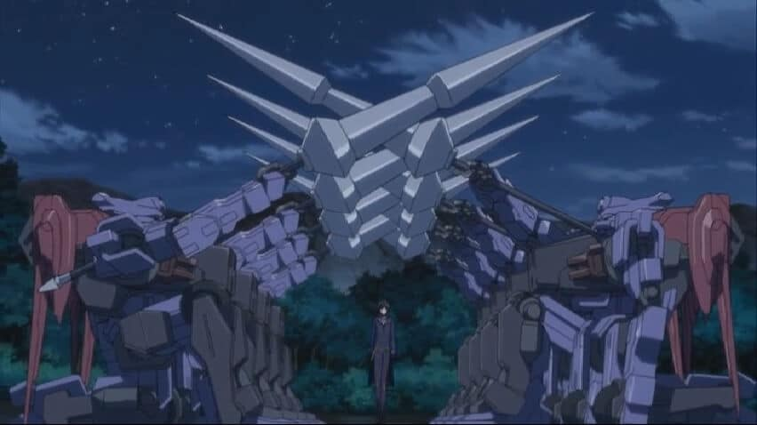 Lelouch walking with Sutherlands on both sides. Code Geass R2 Episode 20 At 19m 21s