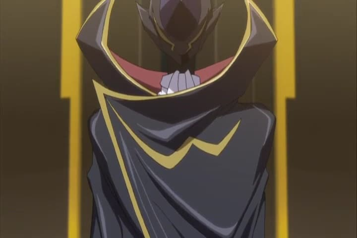 Lelouch addressing the Black Knights. Code Geass R2 Episode 5 at 2m 40s