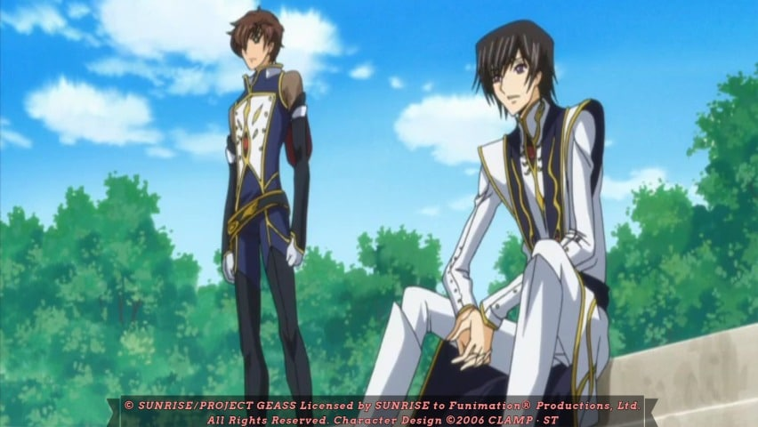 Lelouch talking with Suzaku. Code Geass R2 Episode 22 At 5m 30s