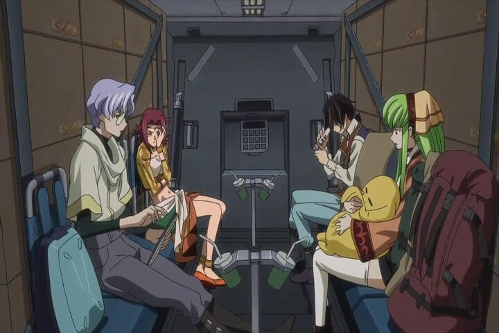C.C., Lelouch, Lyod, Kallen on their way to the temple. Code Geass Lelouch of the Re;surrection At 16m 49s