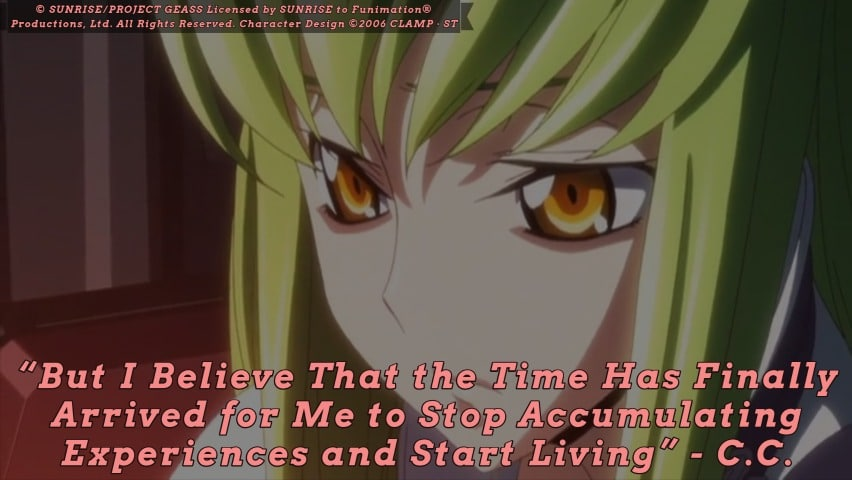 C.C. quote on life. Code Geass R2 Episode 24