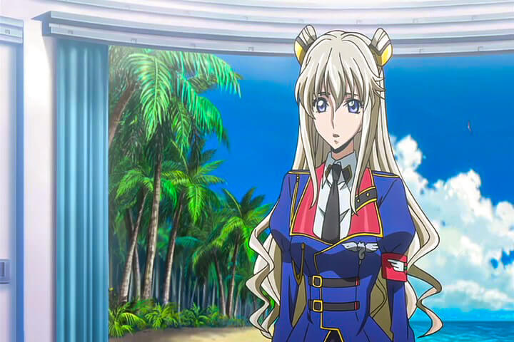 Leila talking to General Smilas. Code Geass Akito the Exiled - The Wyvern Arrives At 17m 36s