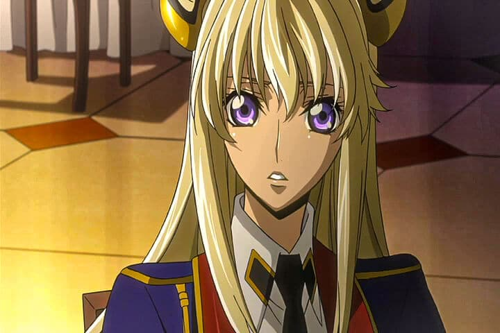 Leila talking with Akito at the party. Code Geass Akito the Exiled - The Wyvern Arrives At 24m 21s