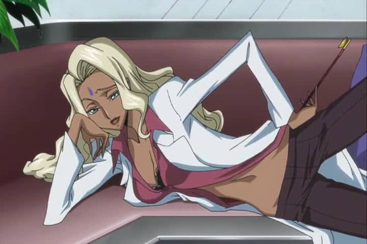 Rakshata talking with Deithard about the Massacre at the SAZ. Code Geass R1 Stage 23 At 06m 09s