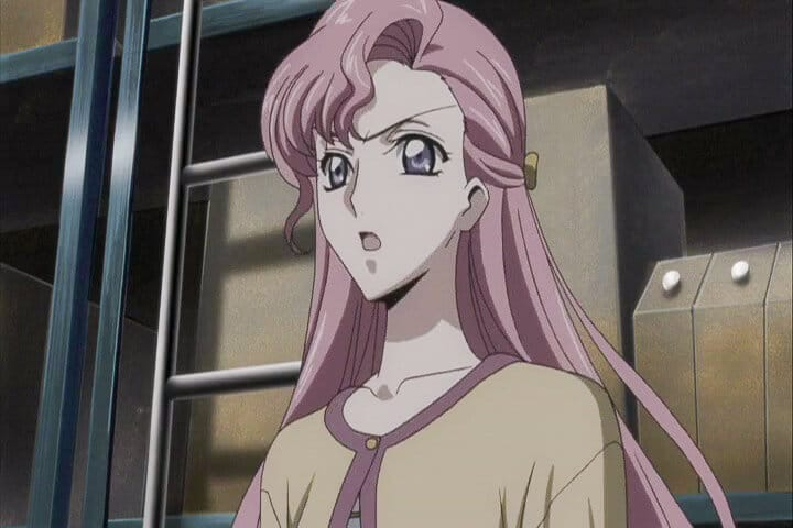 Euphemia giving herself up to protect the hostages. Code Geass R1 Stage 8 At 15m 24s