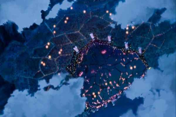 The Tokyo Settlement after the Gefjun Disturber were destroyed. Code Geass R2 Turn 18 At 10m 35s