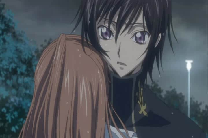 Shirley hugging Lelouch in the rain. Code Geass R1 Stage 12 At 21m 37s