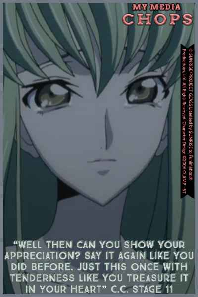C.C. asking Lelouch to say her name in the cave at Narita. Code Geass R1 Stage 11